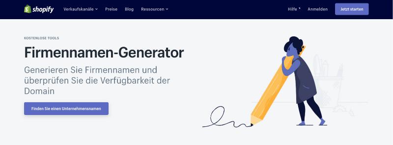 Firmenamen Generator Shopify