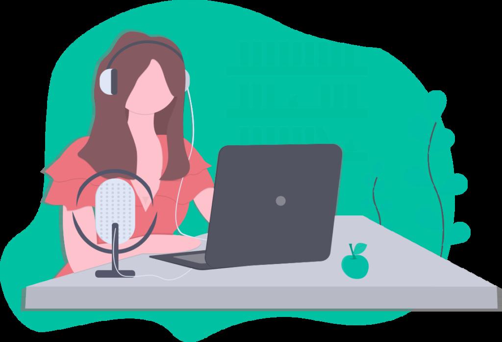 Frau, die gerade Podcast Hosting nutzt