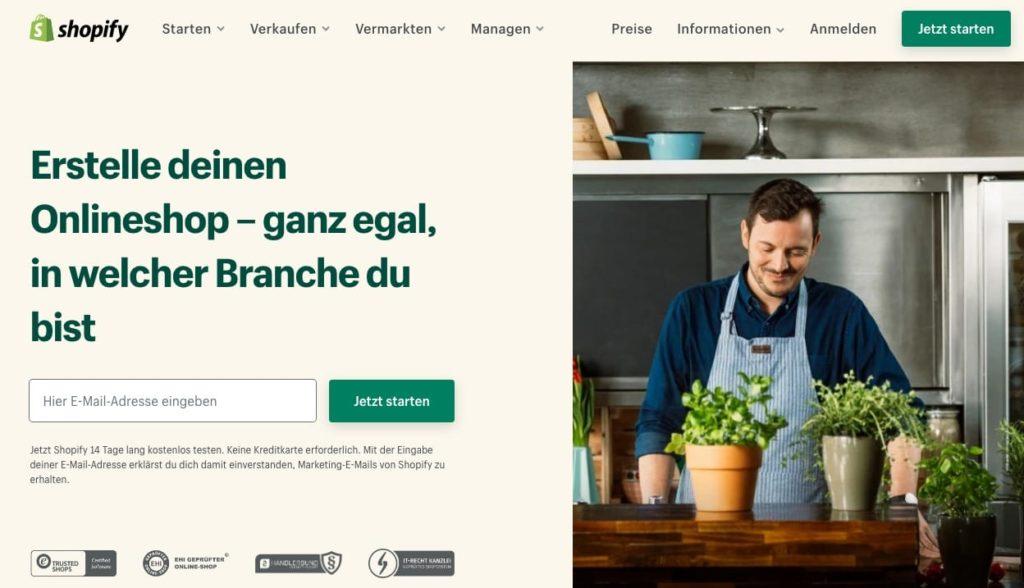 Bilder der Shopify Homepage