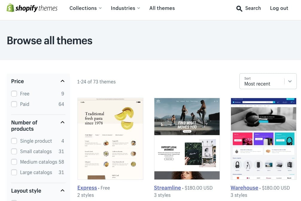 Shopify Themes auswählen