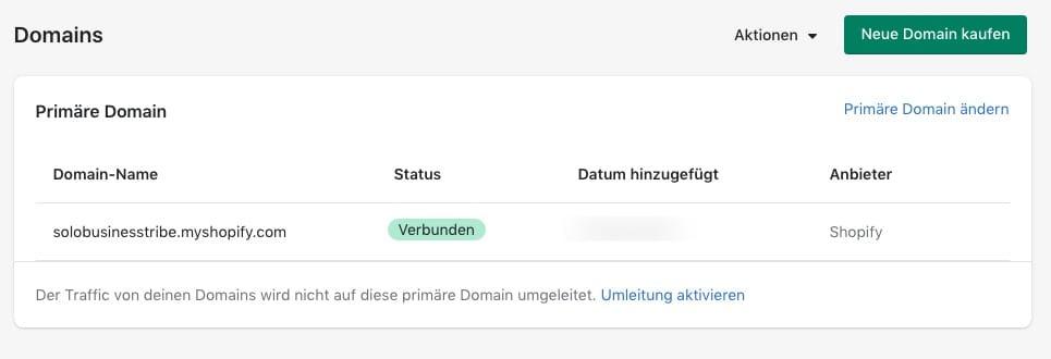 Shopify Domaine hinzufügen